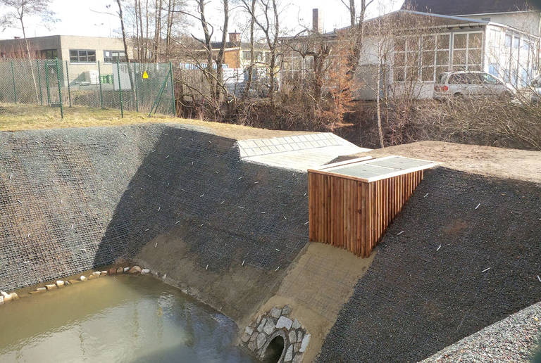 Rainwater retention basin Rehau, Germany